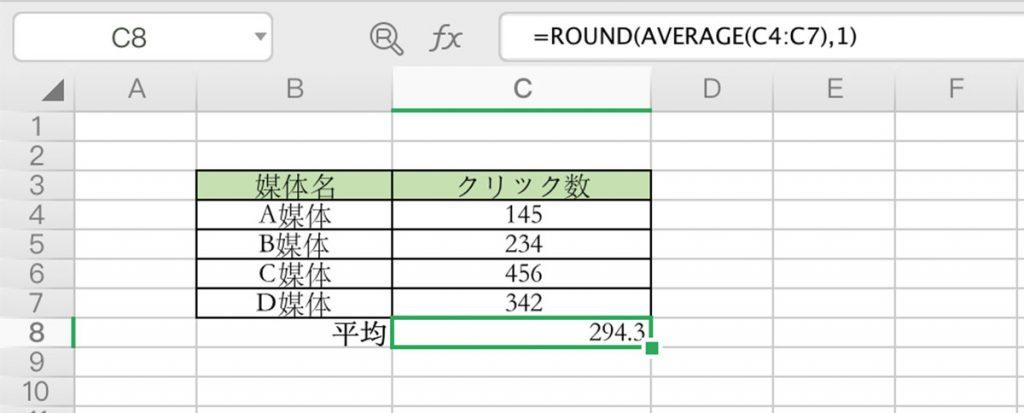 AVERAGE関数を使用したROUND関数